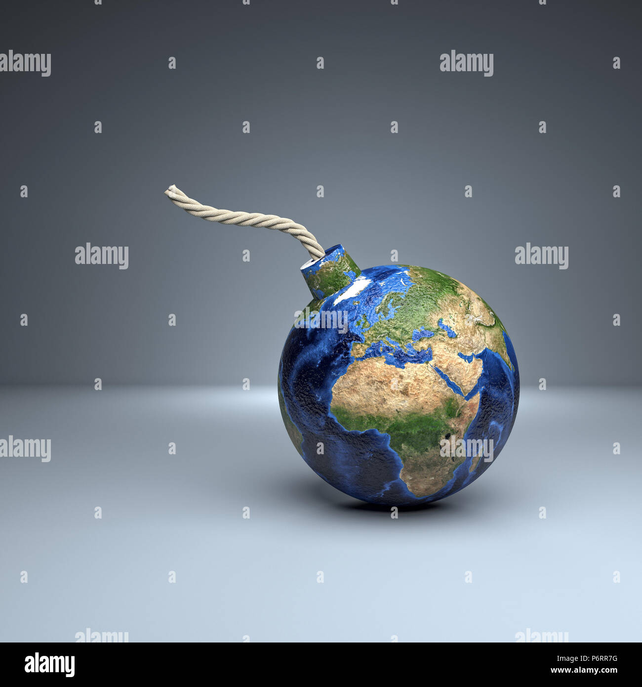 classic bomb with world map europe side 3d rendering image - Stock Image