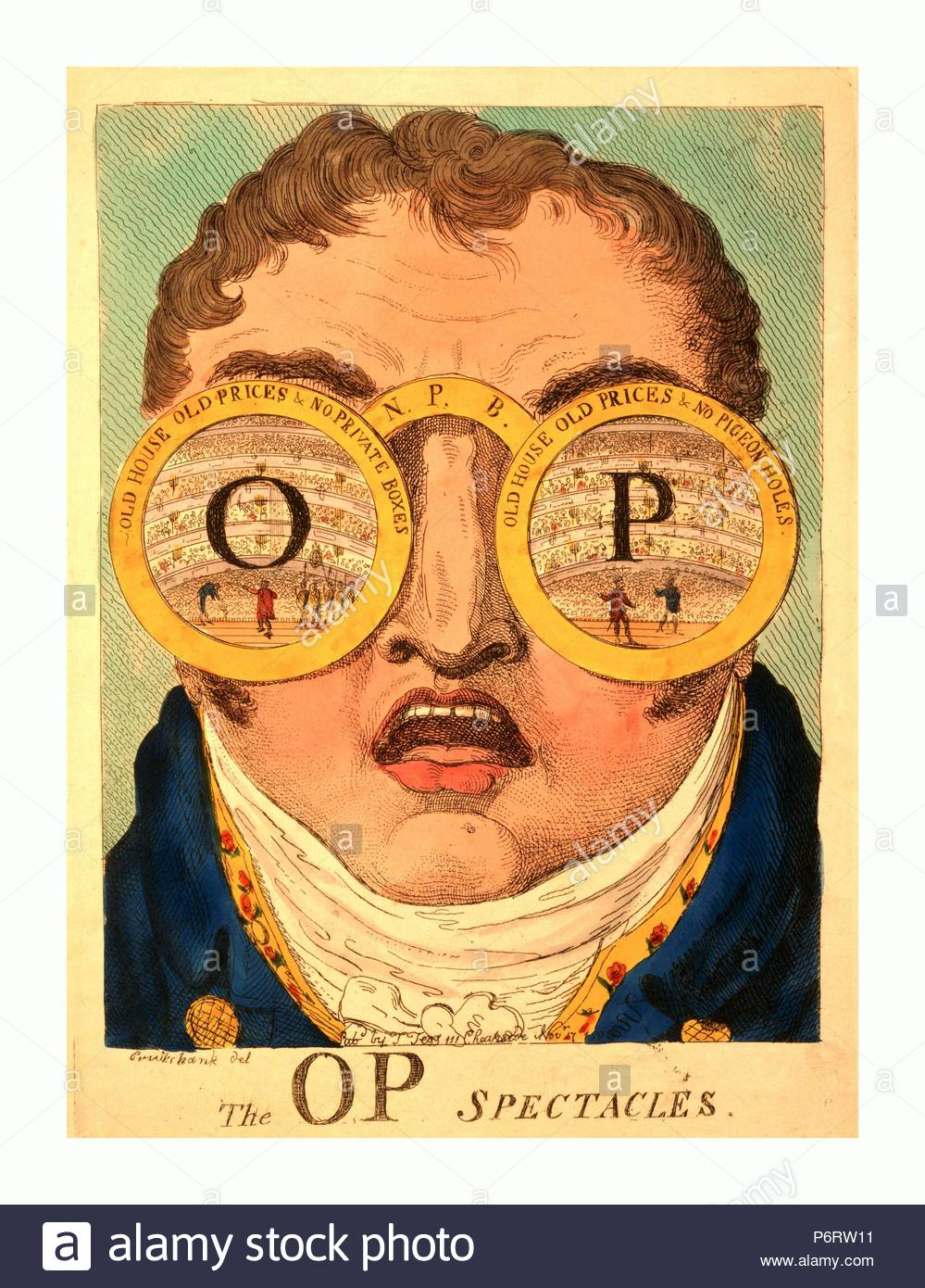 The OP spectacles, Cruikshank, George, 1792-1878, artist, engraving 1809, Satire showing head of Clifford with two circles representing huge spectacles, Old house old prices & no private boxes and Old house old prices & no pigeon holes, over his eyes. Each circle contains a symmetrical view of Covent Garden Theatre seen from the stage. Superimposed on the middle of one circle is a large O and in the other circle a large P. - Stock Image