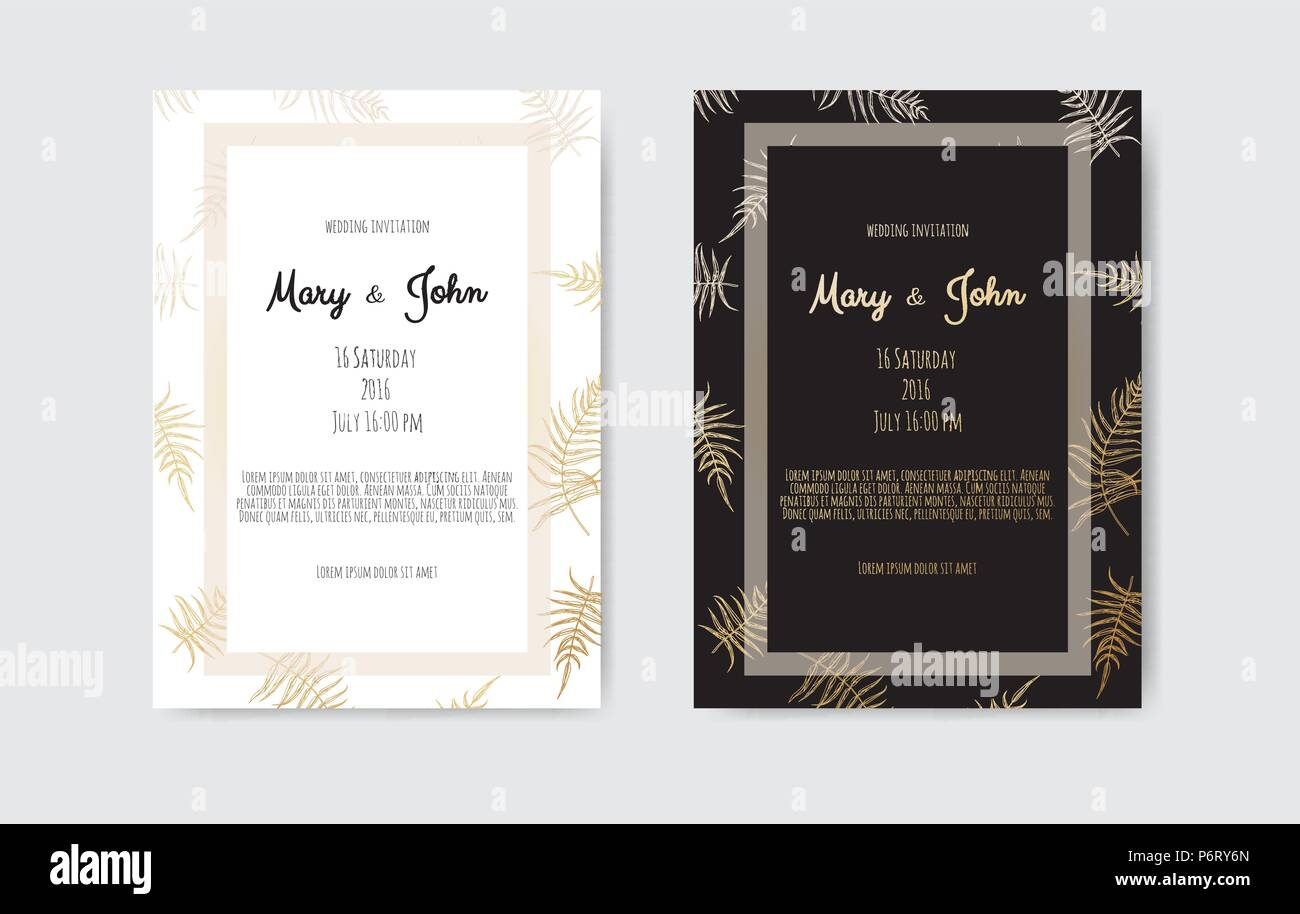 Vector invitation with gold floral elements. Wedding invitation cards with floral elements Stock Vector