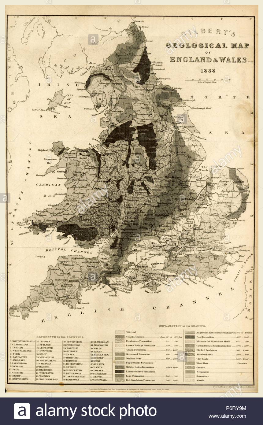 Map England and Wales 1838, 19th century engraving. - Stock Image
