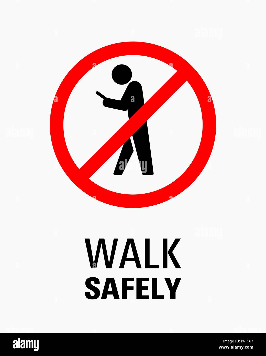 Using smartphone while walking sign vector illustration. - Stock Image