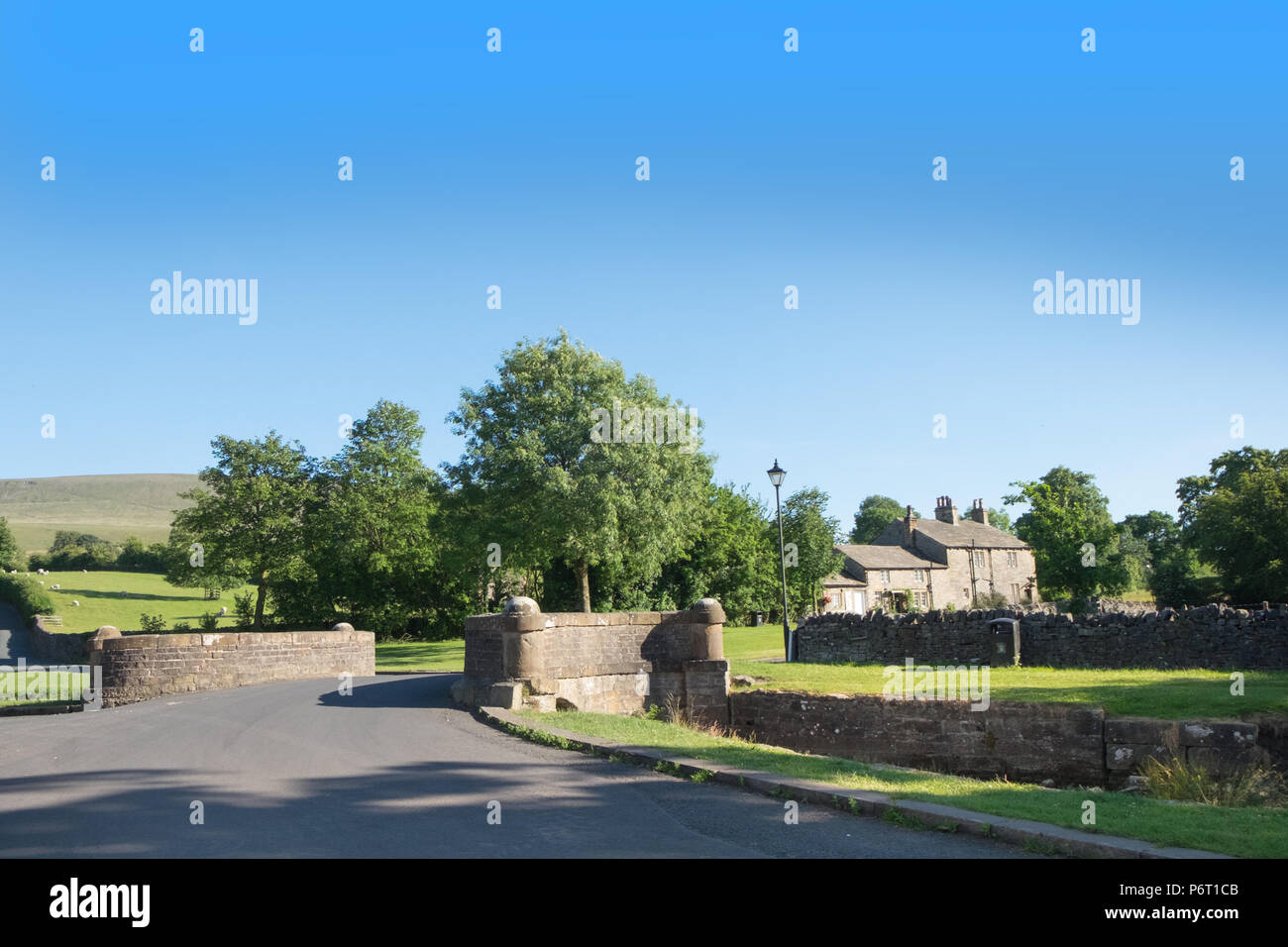 Downham, Clitheroe, Lancashire, UK. Downham is one of the most unspoilt villages in the region and often used as a film location - Stock Image