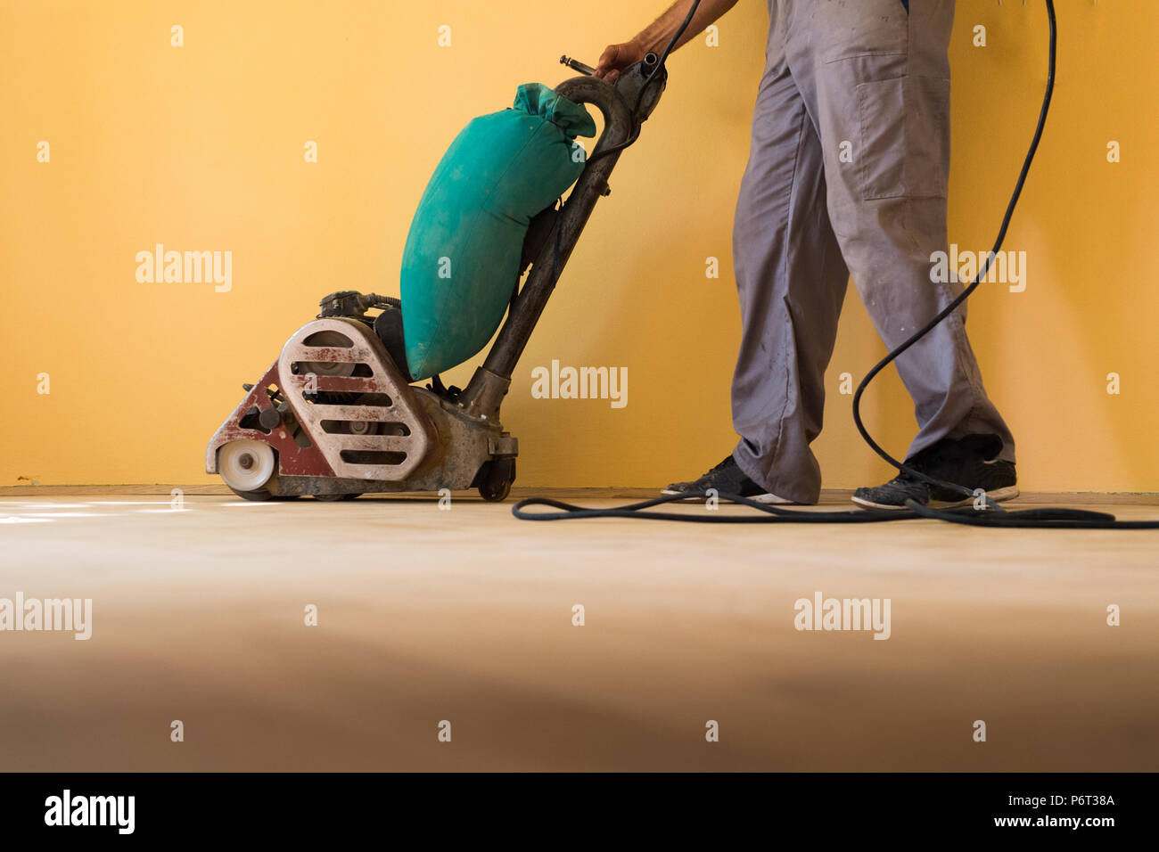 Home renovation and parquet sanding Stock Photo