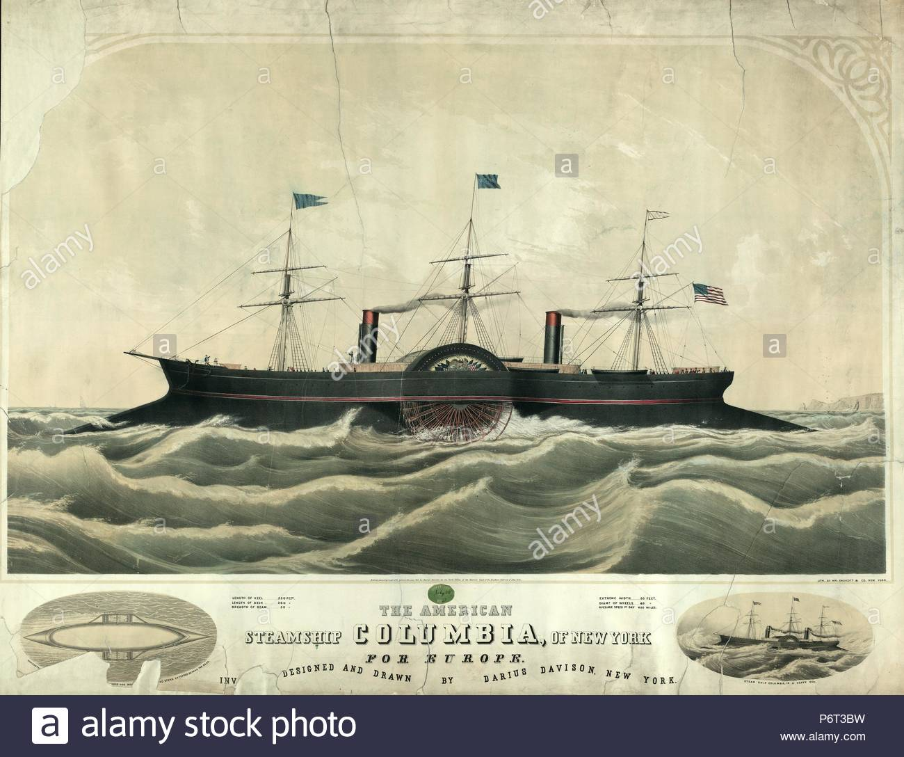 The American steamship Columbia, of New York for Europe; W. Endicott & Co., printmaker; New York : Wm. Endicott & Co., c1852.; 1 print : lithograph, with tint stone, hand-colored ; 39 3/4 x 30 5/8 in. - Stock Image