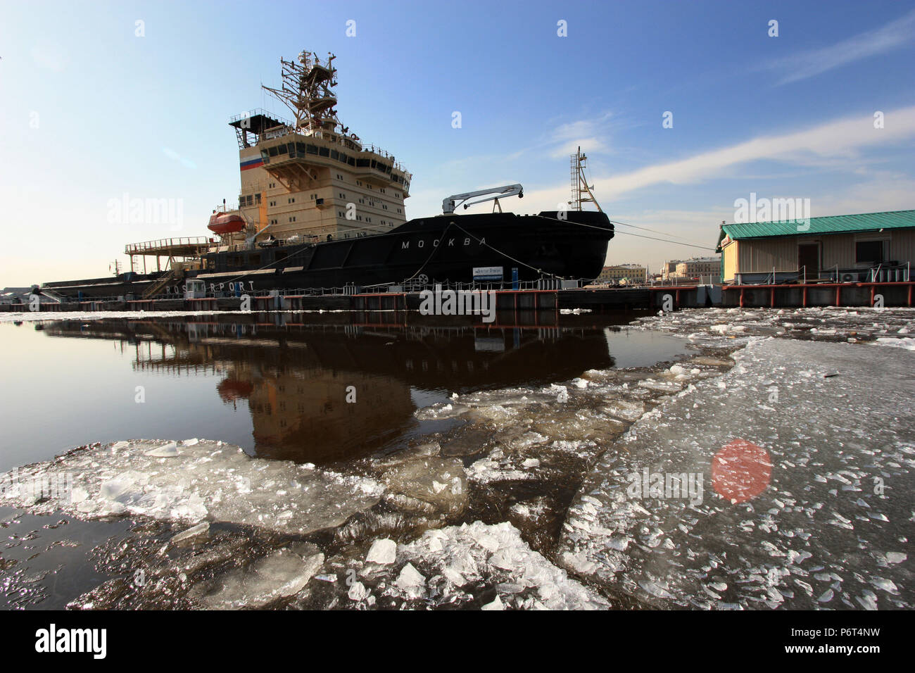 edc3ecbe08 Russian nuclear icebreaker Moscow moored to the pier on the Neva river in  St. Petersburg