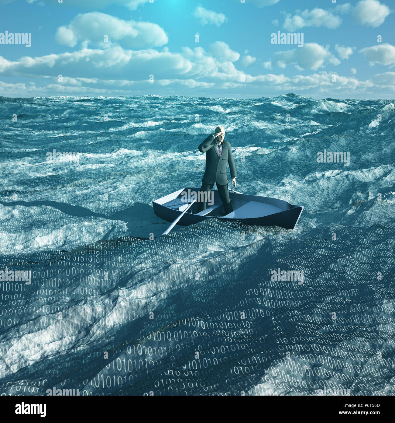 Man drift in tiny baot in binary ocean - Stock Image