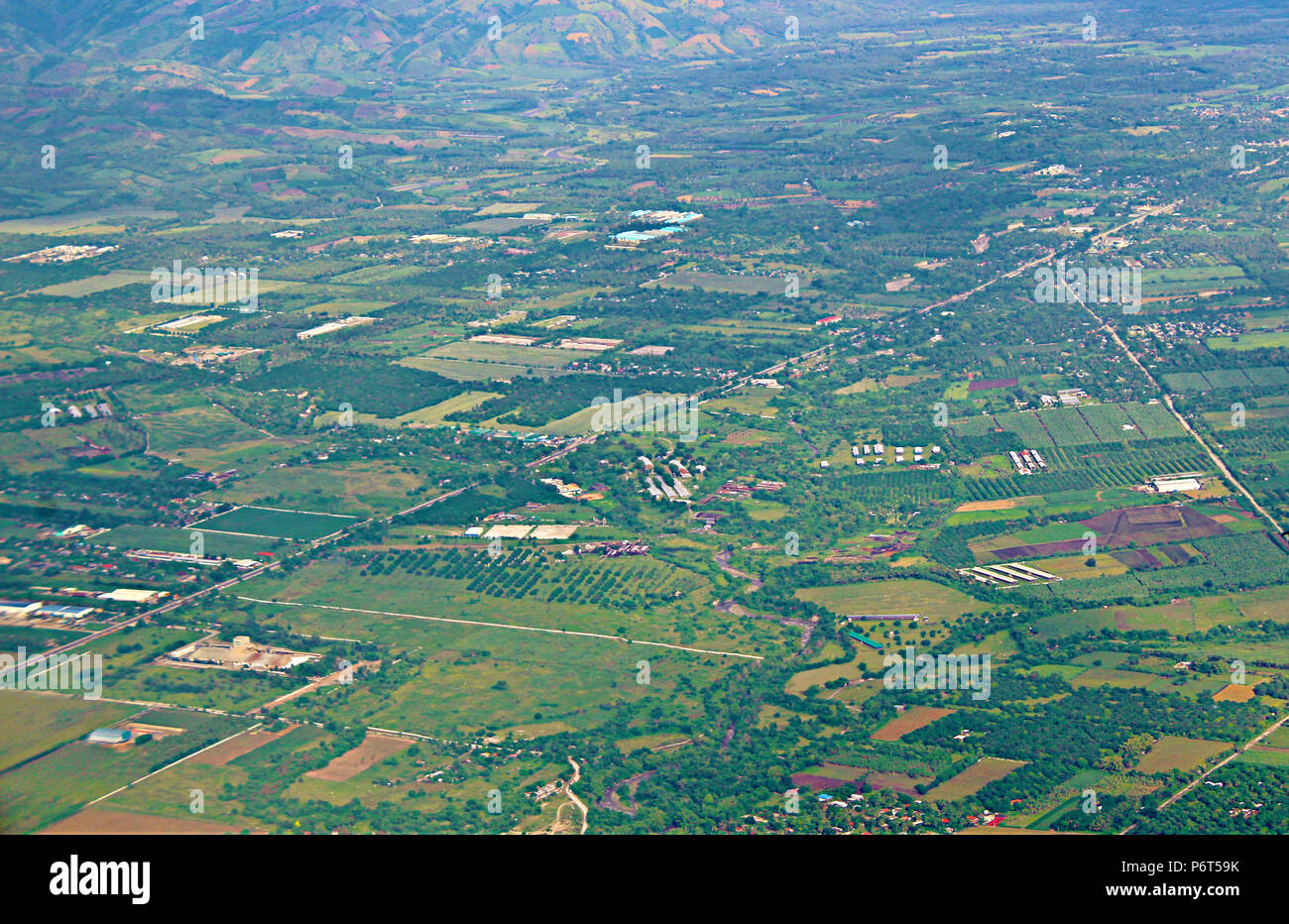 Aerial Picture of a Green Farm, Aerial Shot - Stock Image