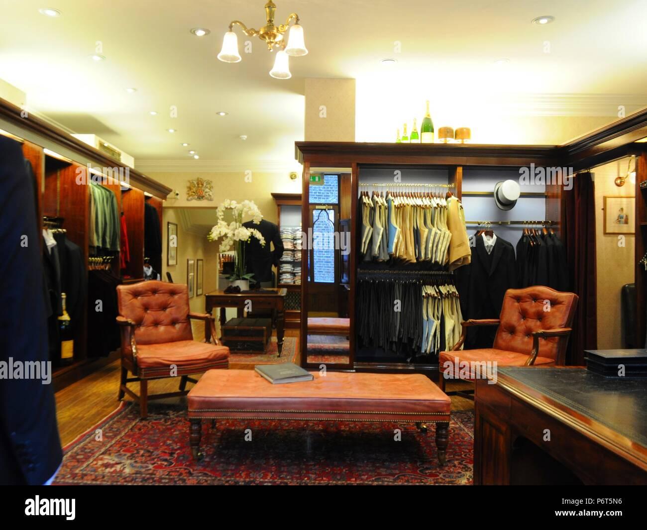 Interior of Ede & Ravenscroft Tailors on Chancery Lane, London, UK. - Stock Image