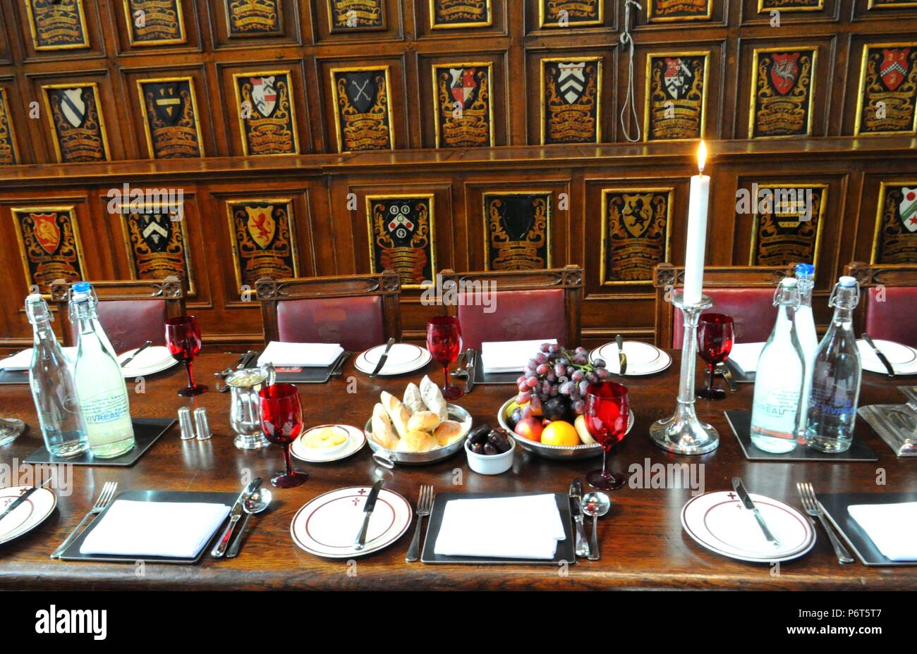 High Table at Middle Temple Hall, London UK. - Stock Image