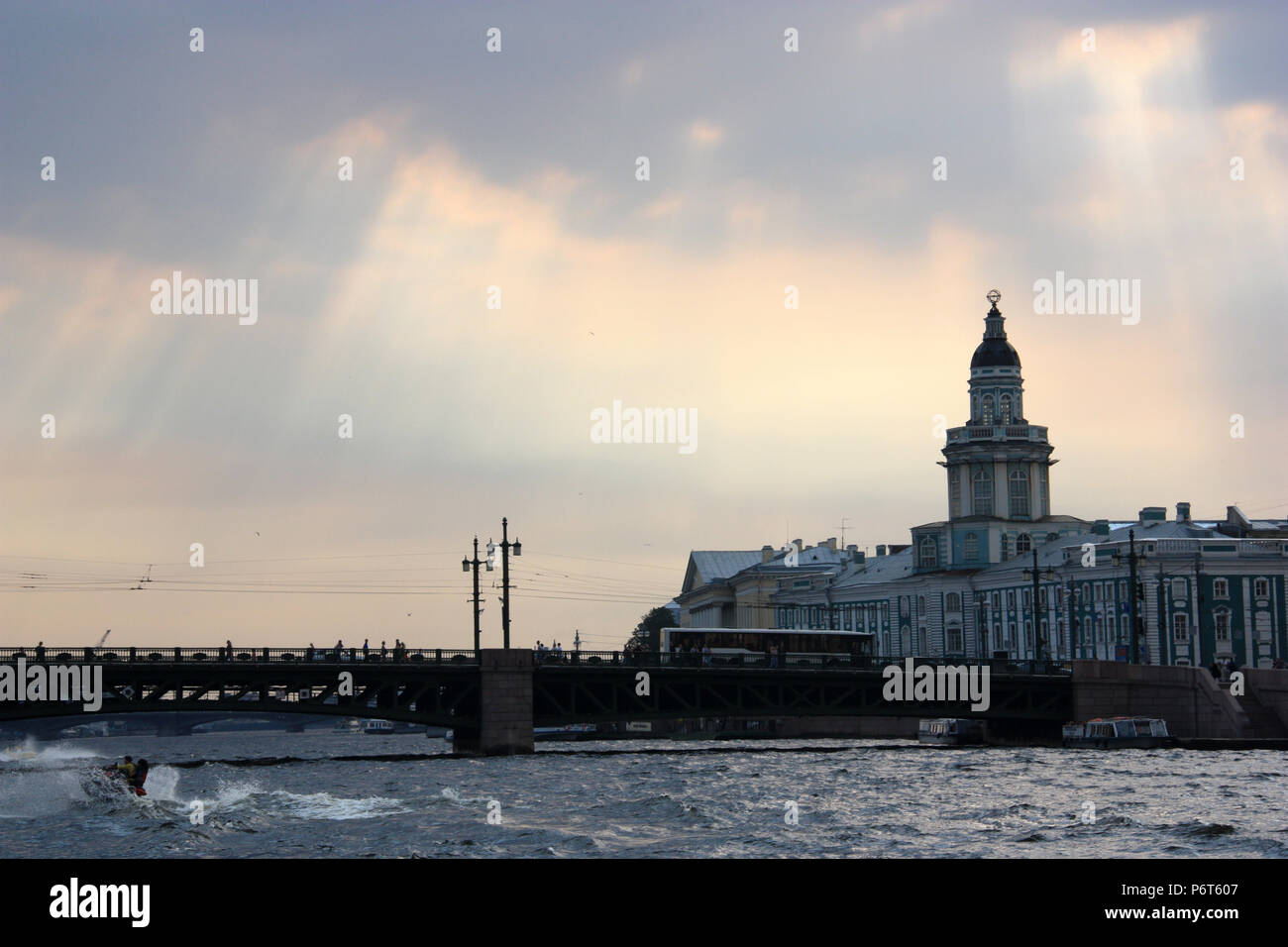 Dramatic sky over the Kunstkamera, Russia's first museum and funded by Peter the Great, in St. Petersburg, Russia - Stock Image