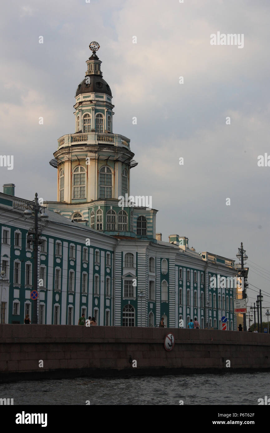 Exterior view of the Kunstkamera, Russia's first museum and funded by Peter the Great, in St. Petersburg, Russia - Stock Image