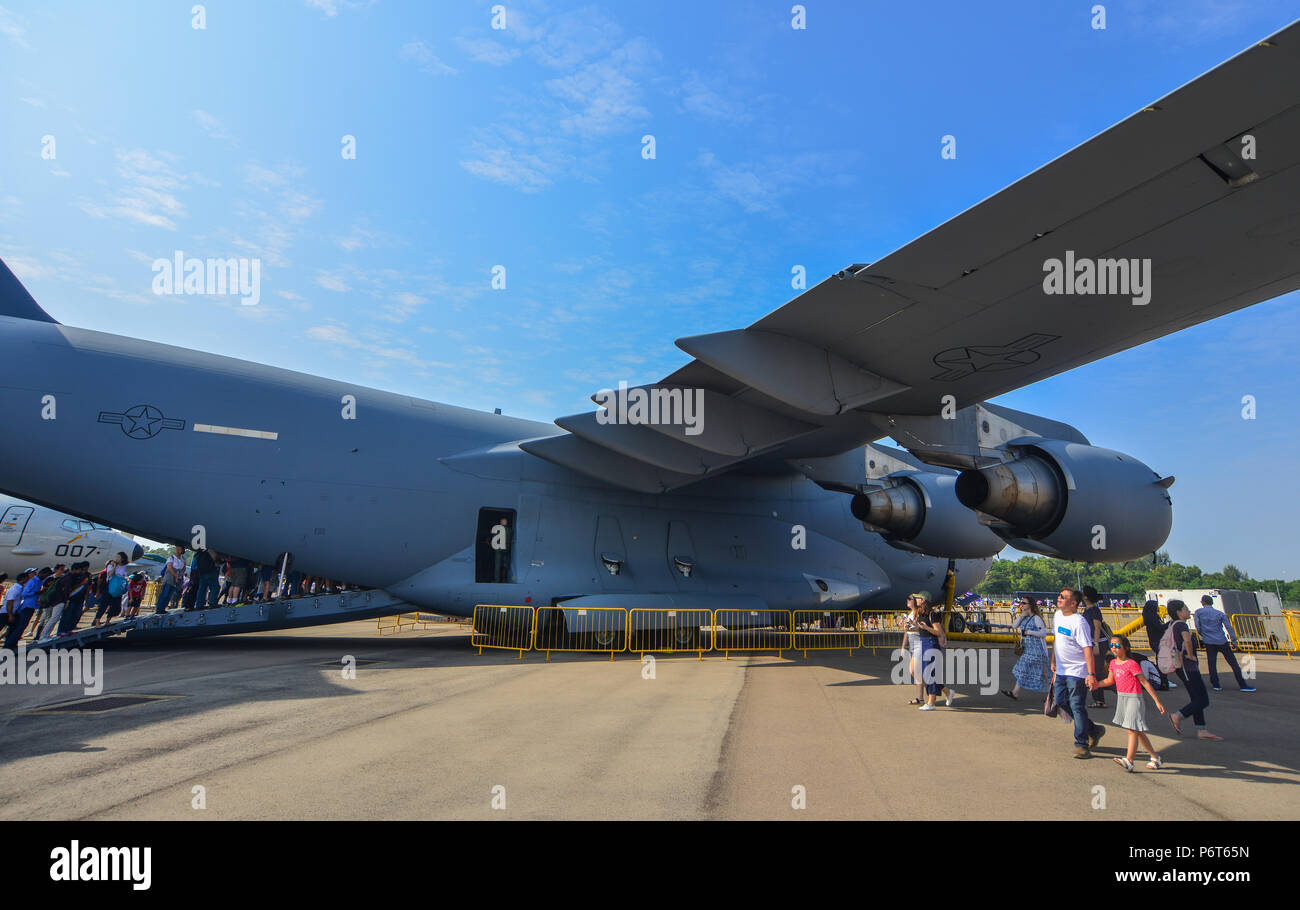 Singapore - Feb 10, 2018. Strategic and tactical airlifter Boeing C-17 Globemaster III of US Air Force on display in Changi, Singapore. - Stock Image