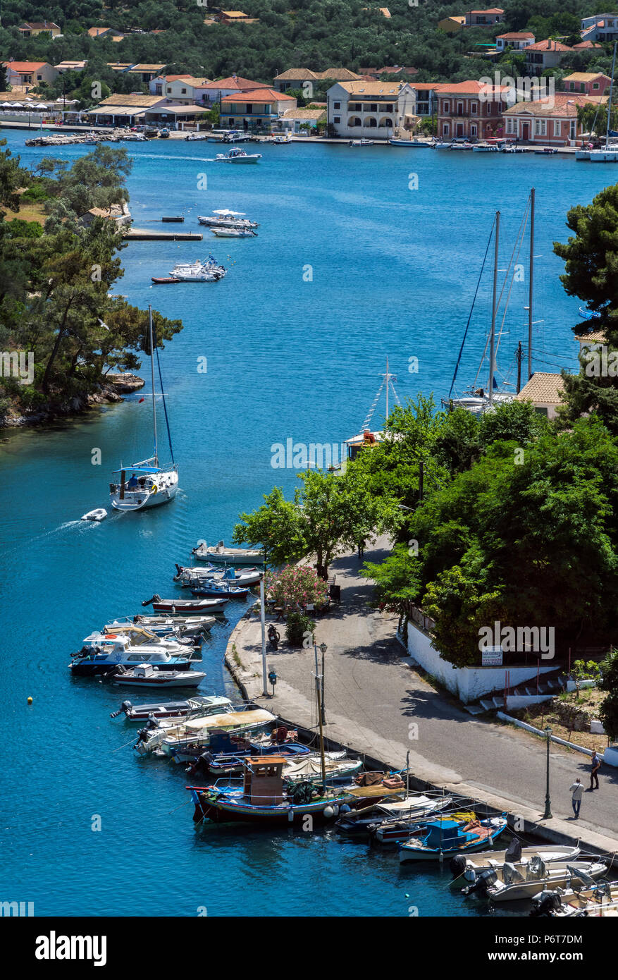 Entering the Port of Gaios, Paxos. - Stock Image