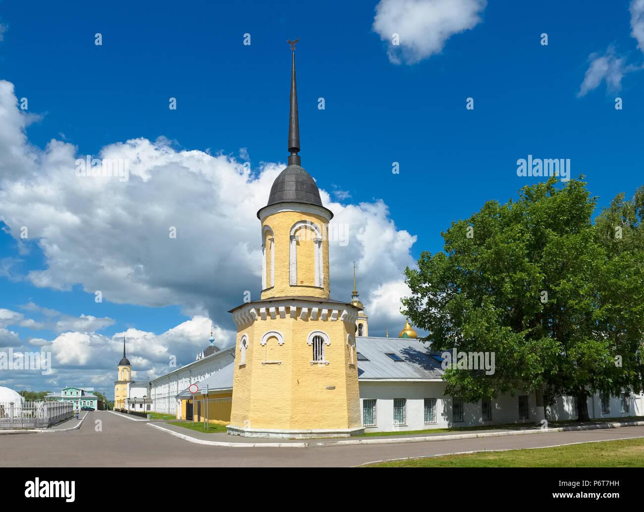 Kolomna, Russia, Kolomna Kremlin, view of the wall of the Holy Trinity Novo-Golutvin monastery from Kazakova Street Stock Photo