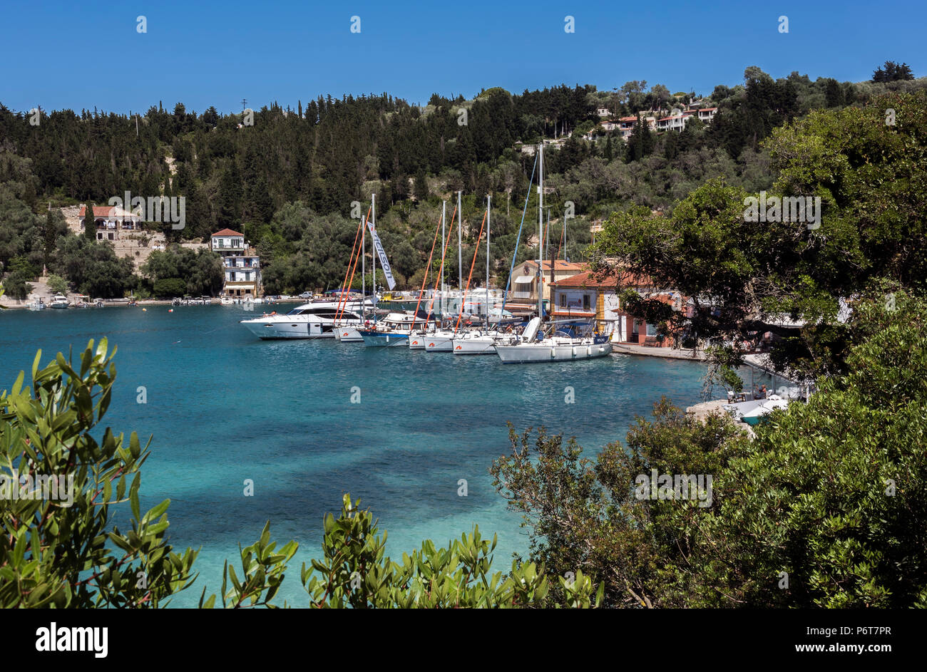 Yachts in Lakka Bay, Paxos. - Stock Image