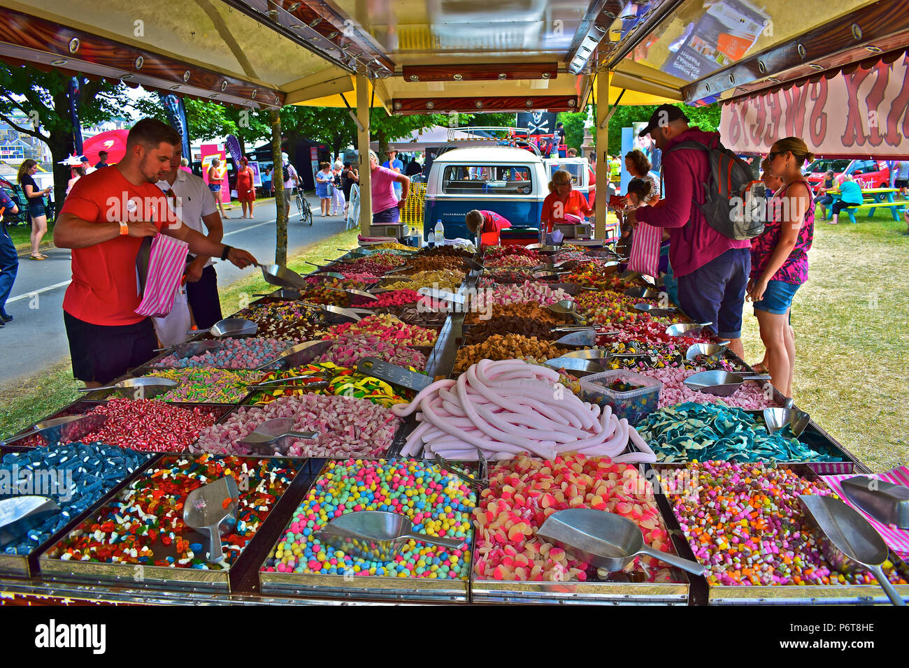 An exotic & colourful display of sweets & confectionary on a covered Stall at Swansea Air Show 2018 - Stock Image