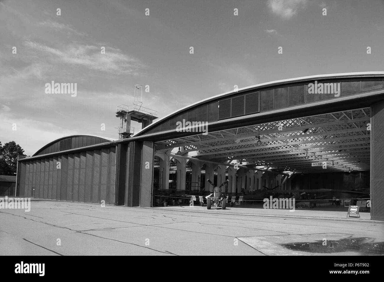 Aircraft Hangar, Imperial War Museum Duxford - Stock Image