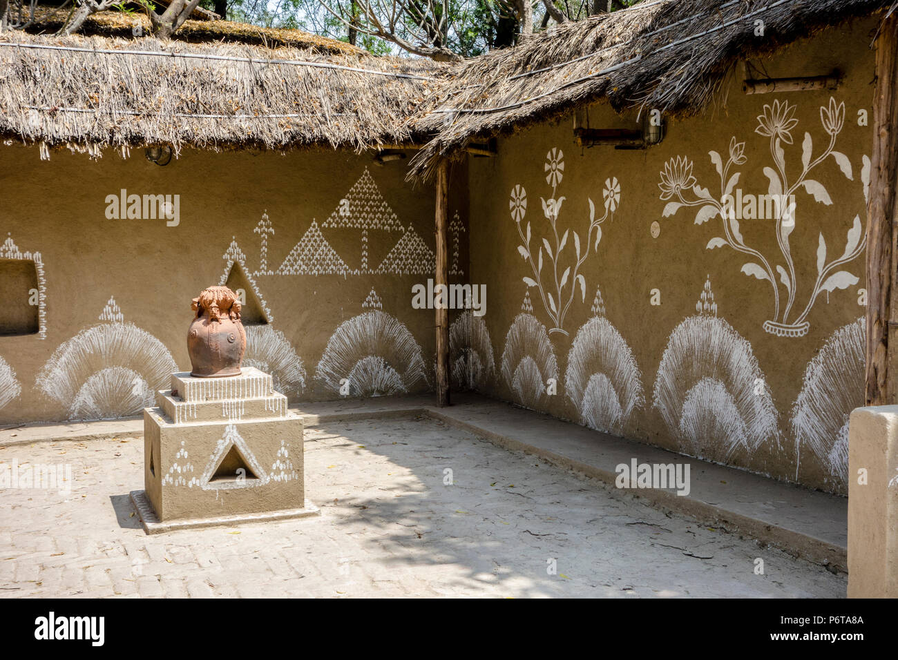 Exhibit of wall paintings on an Odisha Courtyard, National Crafts Museum, New Delhi, Delhi, India - Stock Image