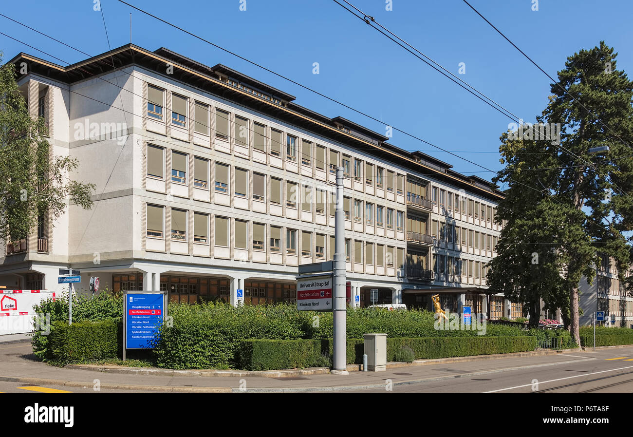 One of the buildings of the University Hospital of Zurich, view from Ramistrasse street - Stock Image