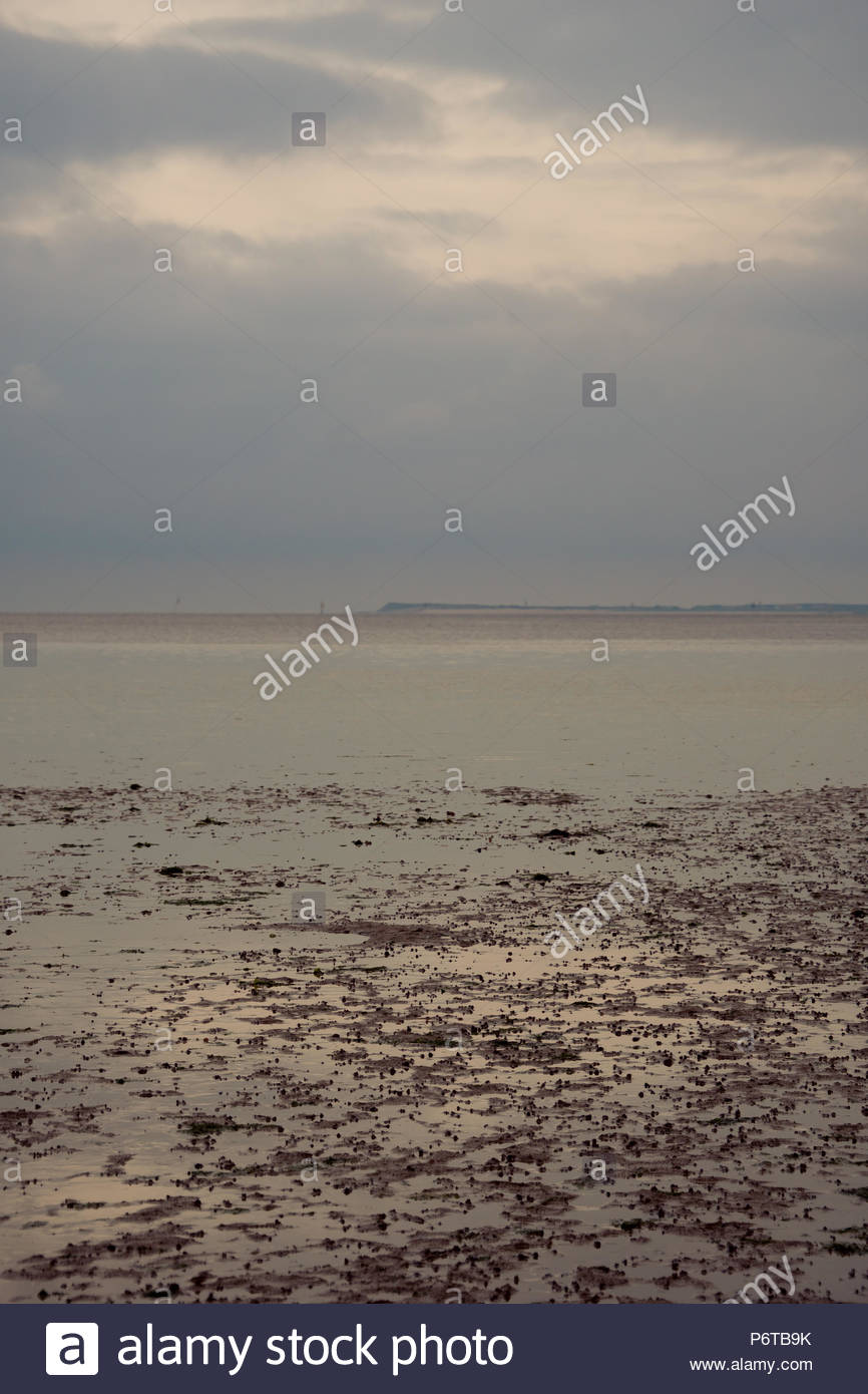 Bedeckter Himmel am Nordseestrand bei Abenddämmerung mit athmosphärischem Blick auf den Horizont. - Stock Image