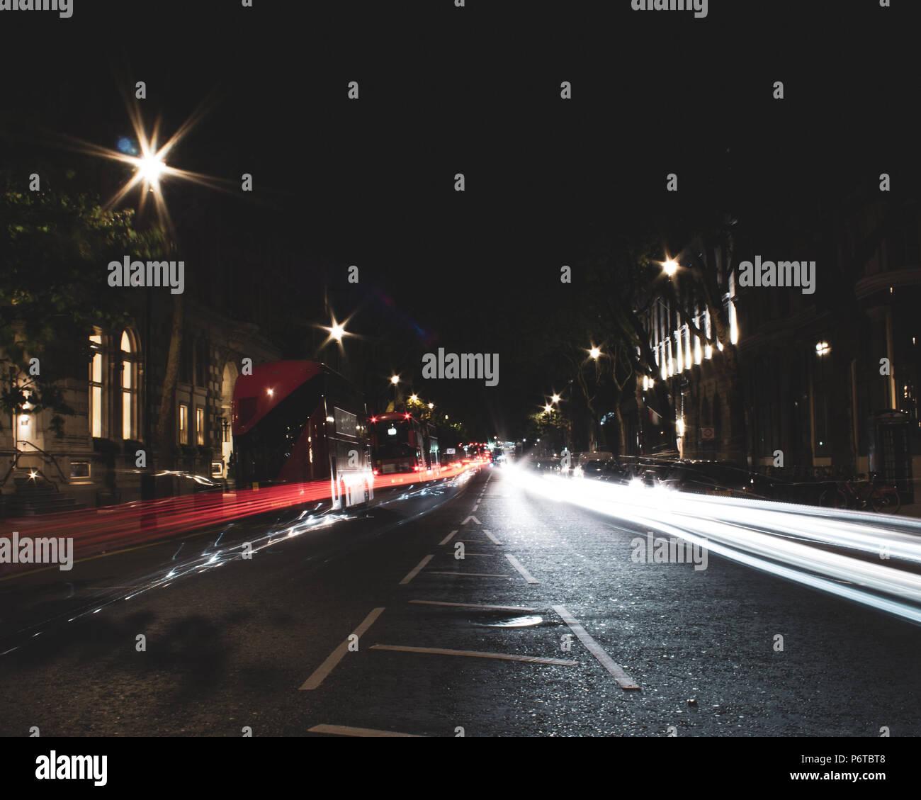 Road Light Trails - Stock Image