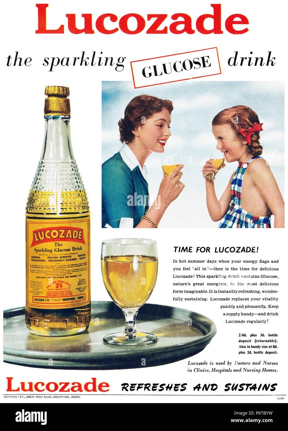 Lucozade Classic Vintage Retro Poster Mum Daughter Family Time Photo Drink Print