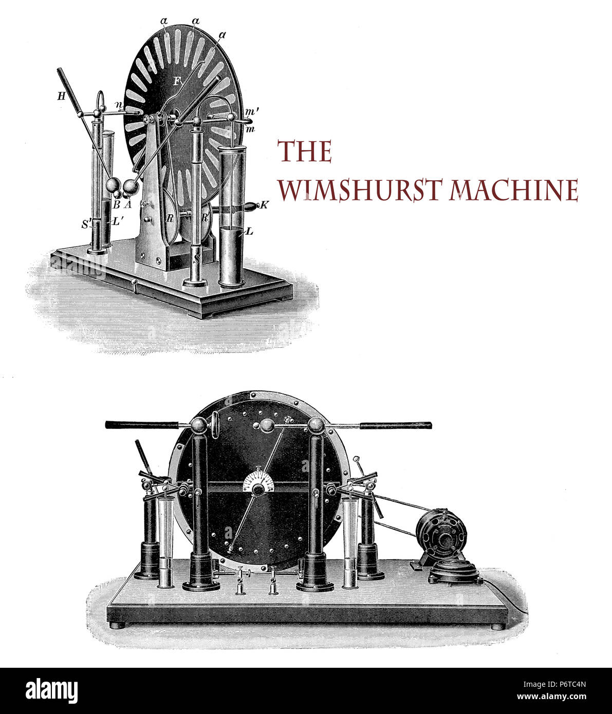 Electricity applications:  the Wimshurst machine, developed by the British inventor James Wimshurst (1832–1903),  is an electrostatic generator for generating high voltages based on electrostatic induction, using two contra-rotating disc  in a vertical plane. - Stock Image