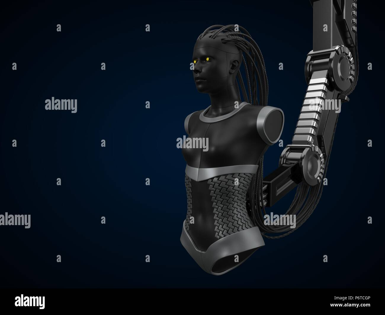 artificial intelligence hub, dark droid version. 3d illustration - Stock Image