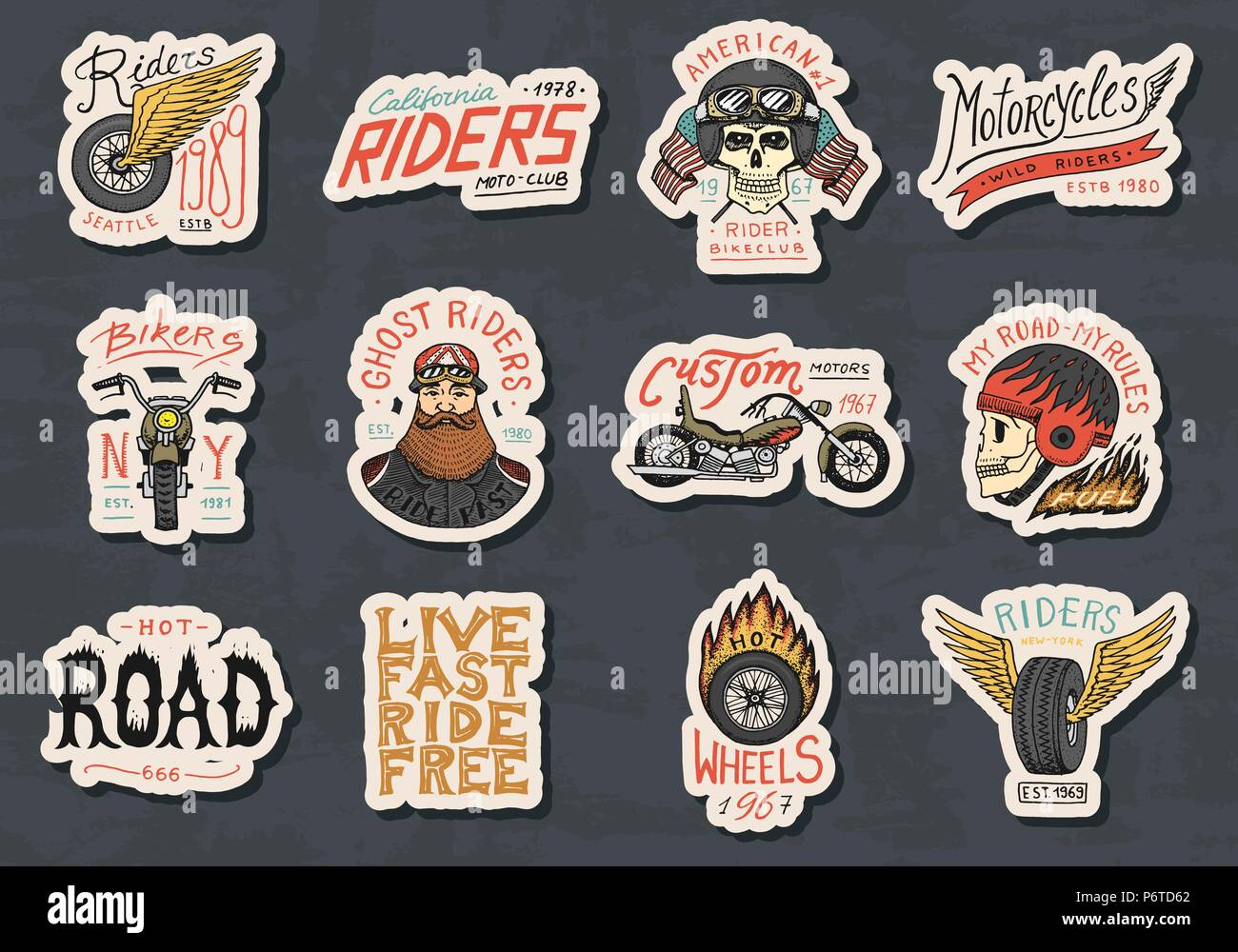 0e1eb0cee Biker club stickers templates. Vintage custom Motorcycle and skull emblems,  labels badges for t shirt. Monochrome retro style. Classic sport motorbike  with ...