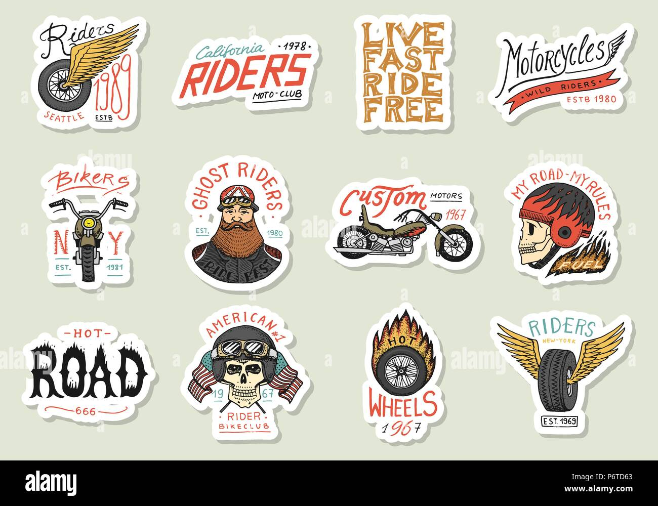 Biker club stickers templates vintage custom motorcycle and skull emblems labels badges for t shirt monochrome retro style classic sport motorbike with