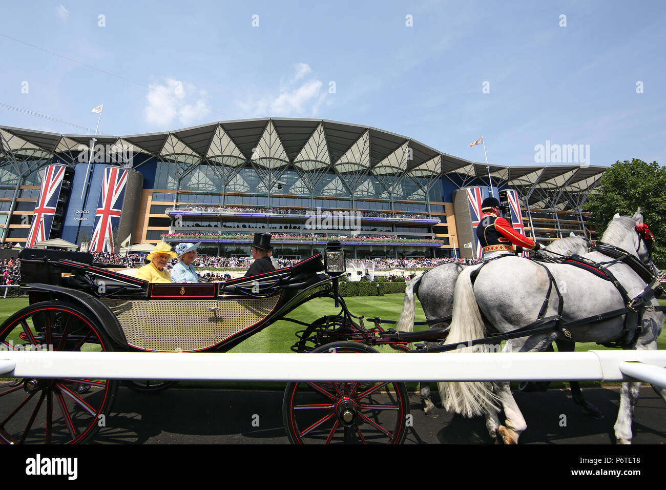 Royal Ascot, Royal Procession. Queen Elizabeth the Second arriving at the racecourse - Stock Image