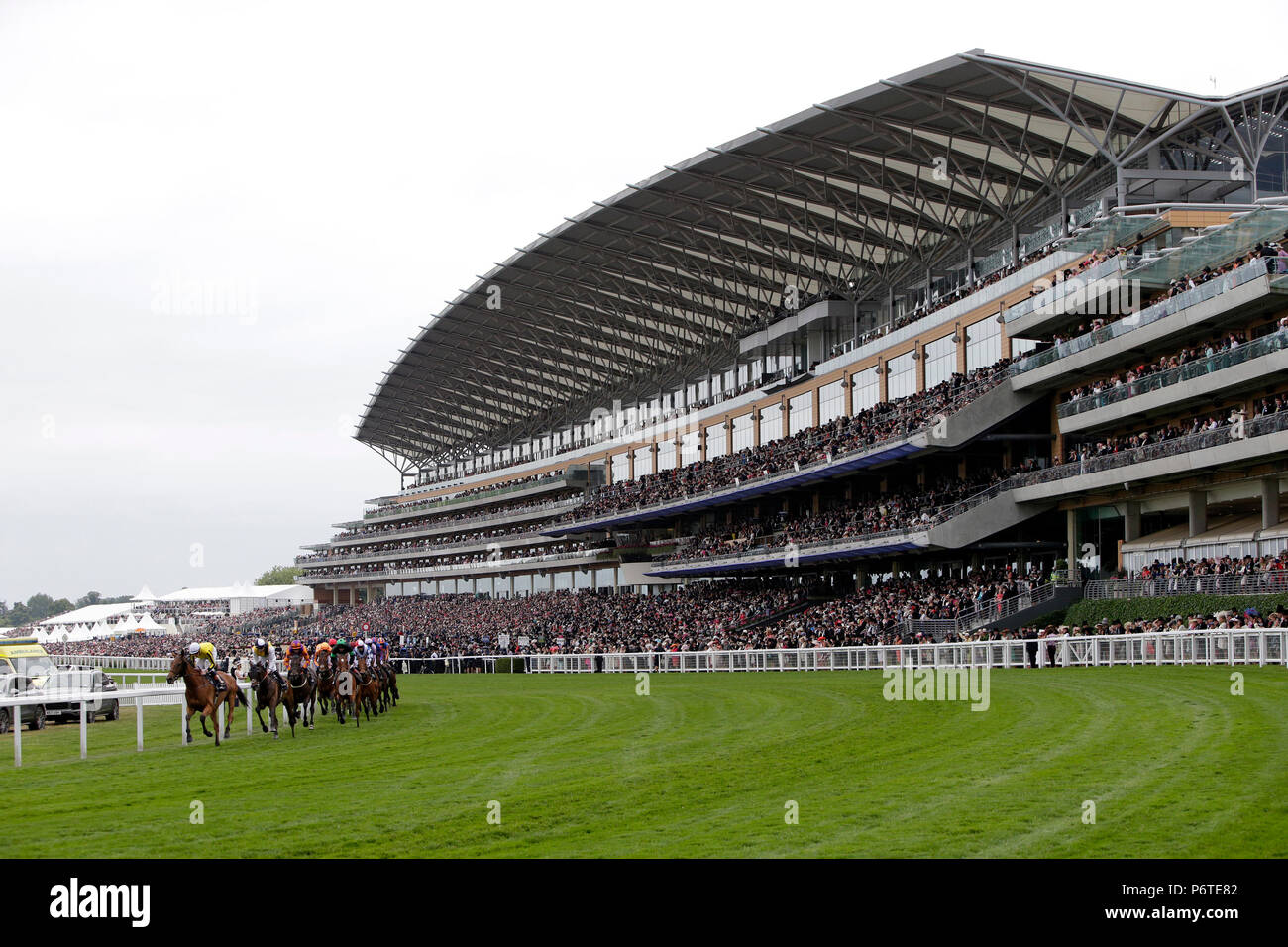 Royal Ascot, Horses and jockeys at the Ascot Gold Cup in front of the grandstand - Stock Image