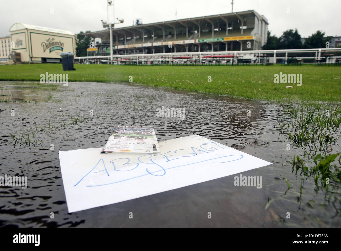 Hamburg, race day cancellation because of continuous rain - Stock Image