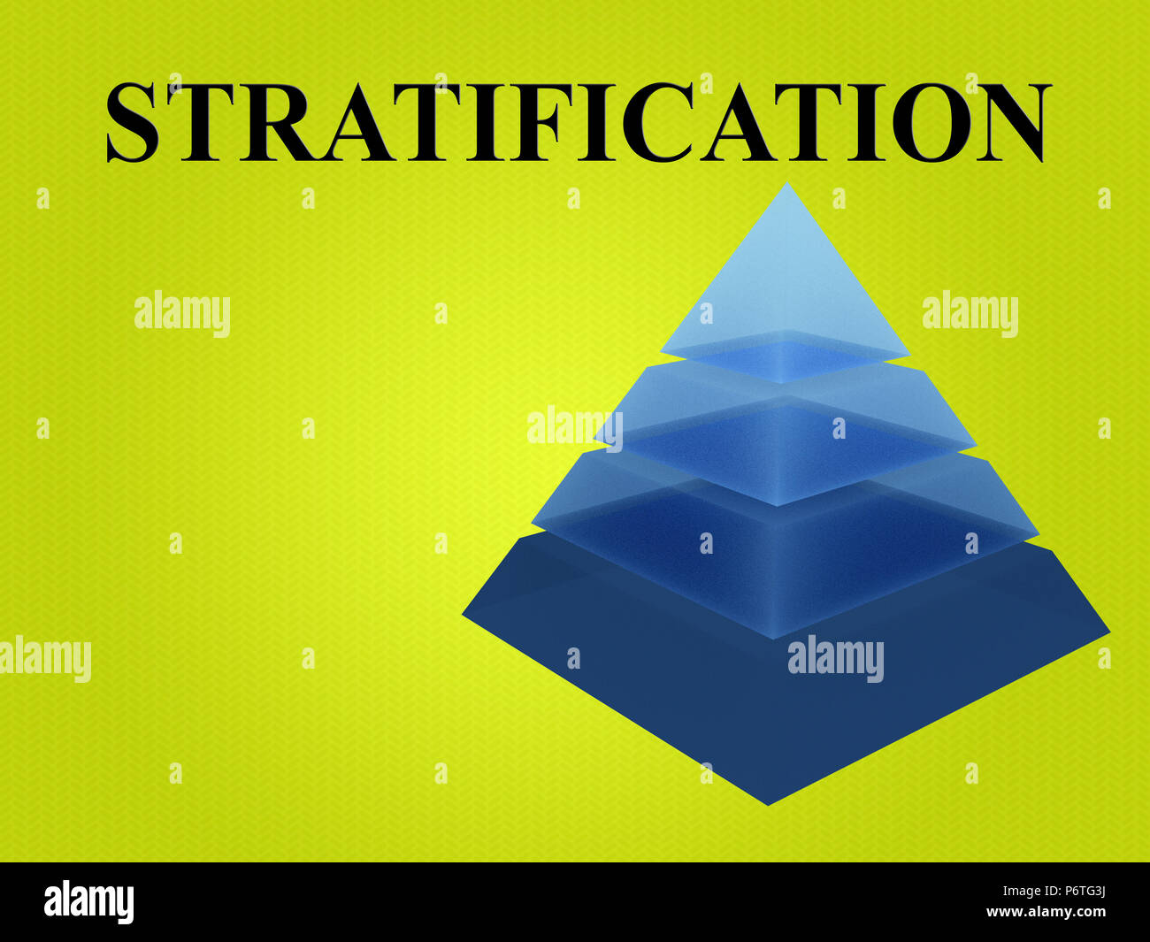 3d illustration of stratification script with sliced pyramid on