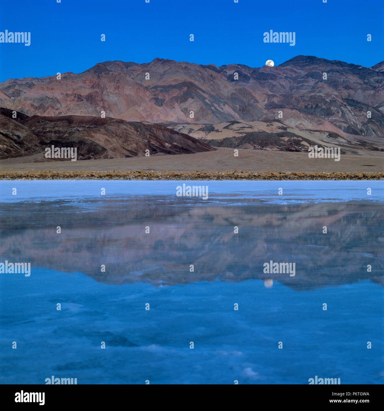 Moonrise, Salt Creek, Black Mountains, Death Valley National Park, California - Stock Image
