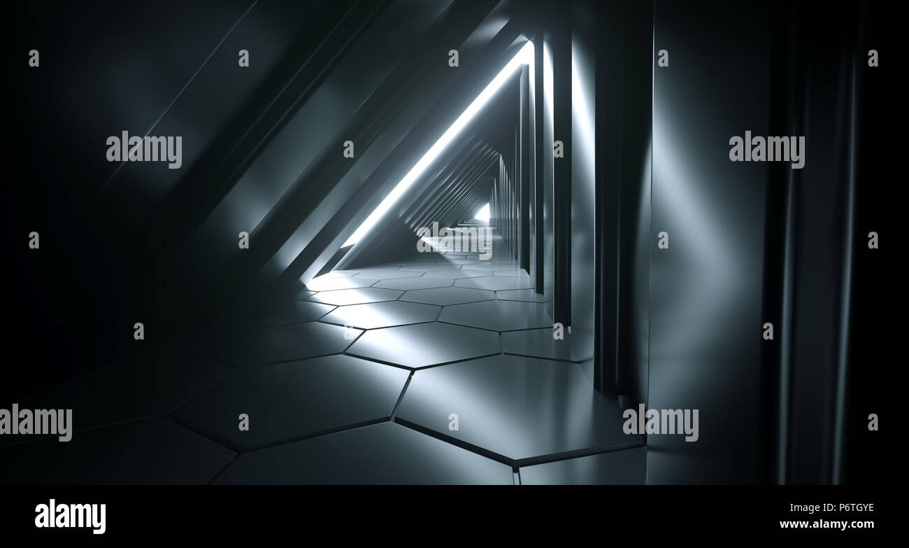 Dark Futuristic Modern Sci Fi Triangle Shaped Reflective Corridor With Reflective Hexagon Floor And Side Lights 3D Rendering Illustration Stock Photo