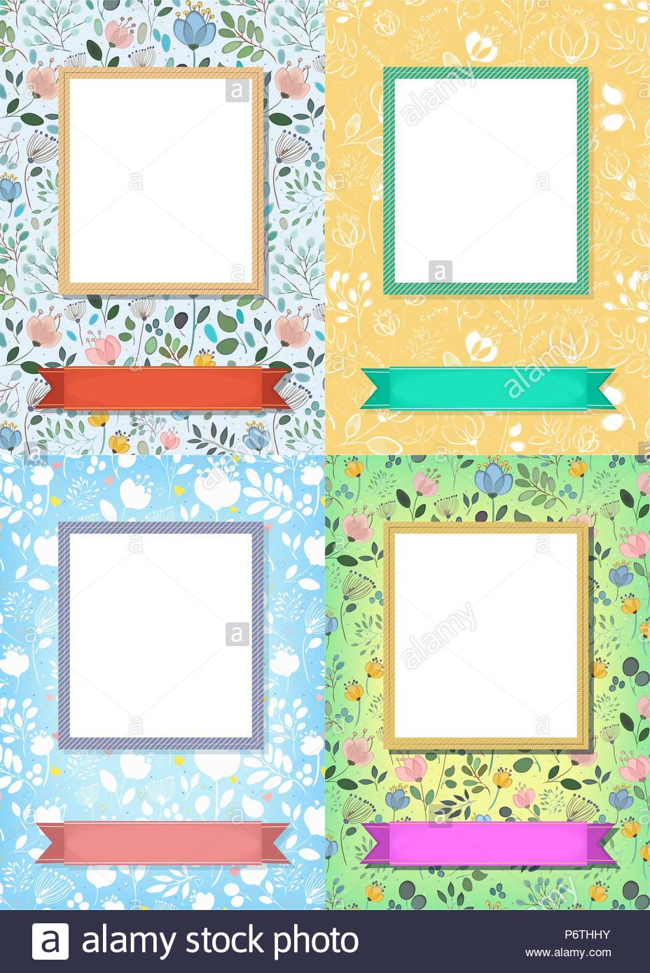 Set Of Floral Greeting Cards Graceful Flowers And Plants With