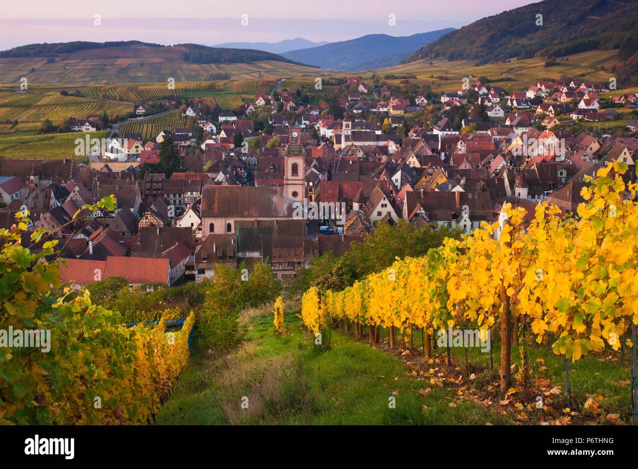 France, Haut-Rhin, Alsace Region, Alasatian Wine Route, Riquewihr, town view, dawn, autumn Stock Photo