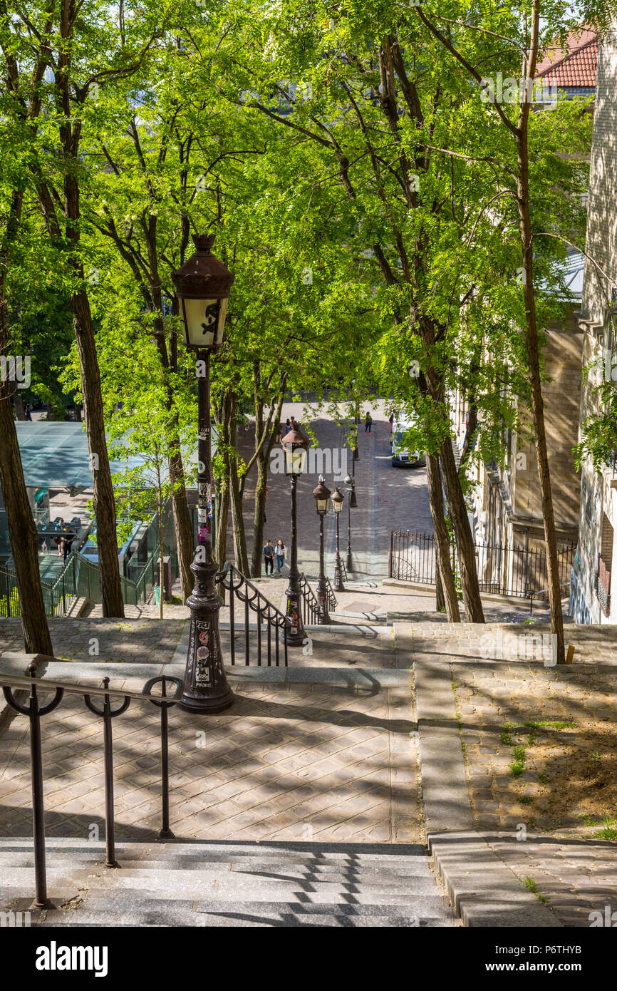 Steps up to Montmartre, Paris, France - Stock Image