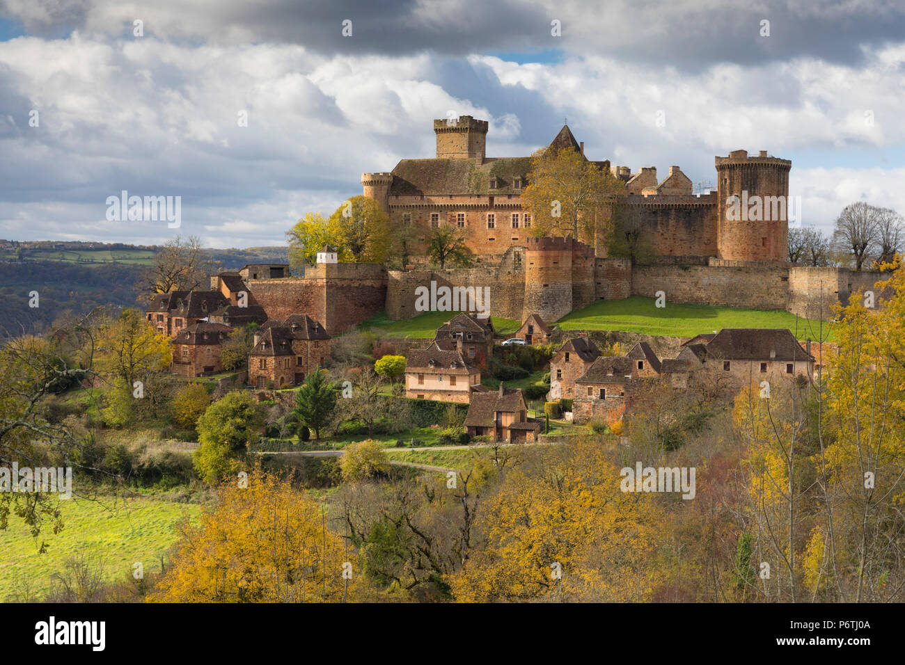 Castelnau-Bretenoux in the autumn, Lot, Midi-Pyrenees, France - Stock Image