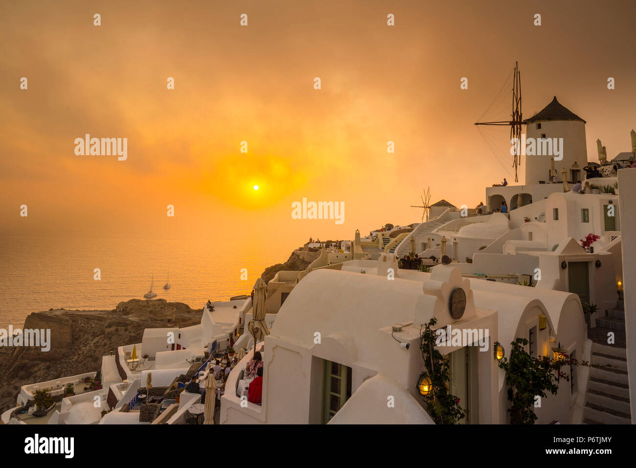 Windmill, Oia, Santorini (Thira), Cyclades Islands, Greece - Stock Image