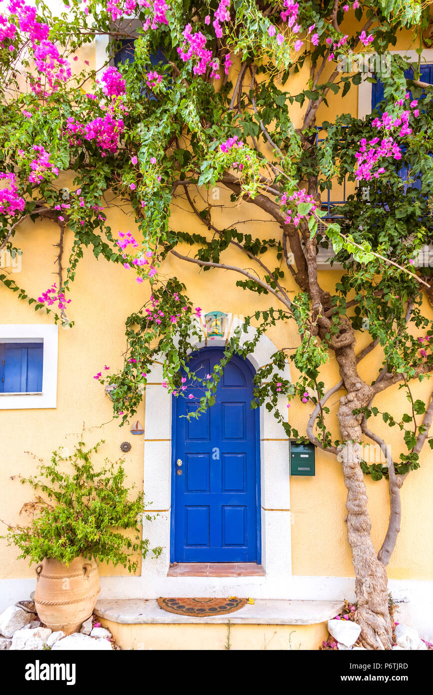 Typical house in a greek village. Kefalonia, Greek Islands, Greece Stock Photo