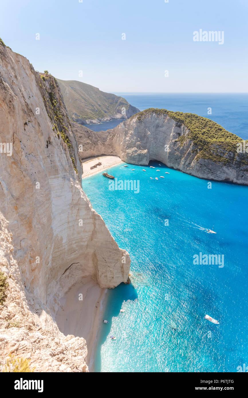 Elevated view of famous shipwreck beach. Zakynthos, Greek Islands, Greece Stock Photo
