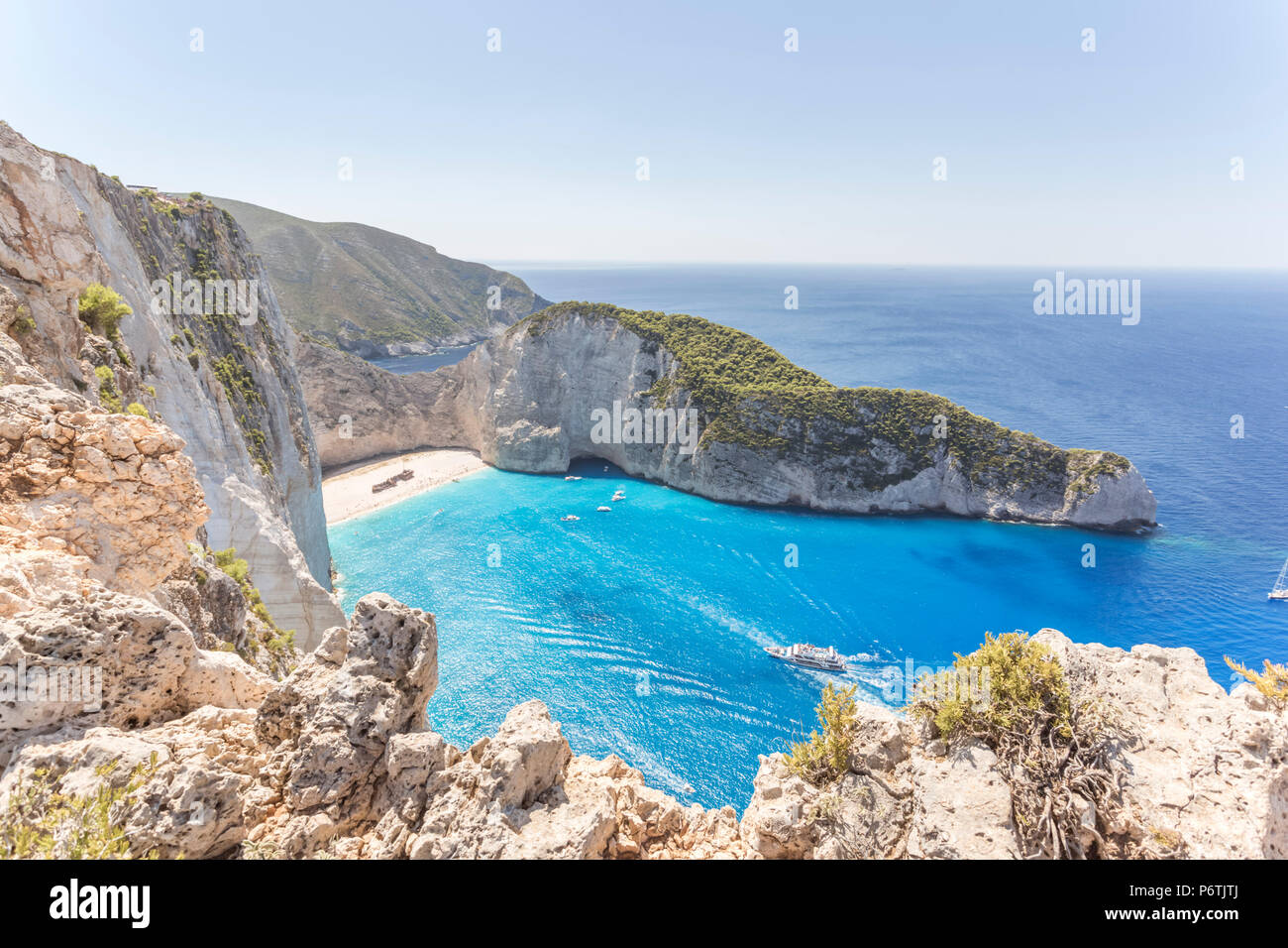 Elevated view of famous shipwreck beach. Zakynthos, Greek Islands, Greece - Stock Image