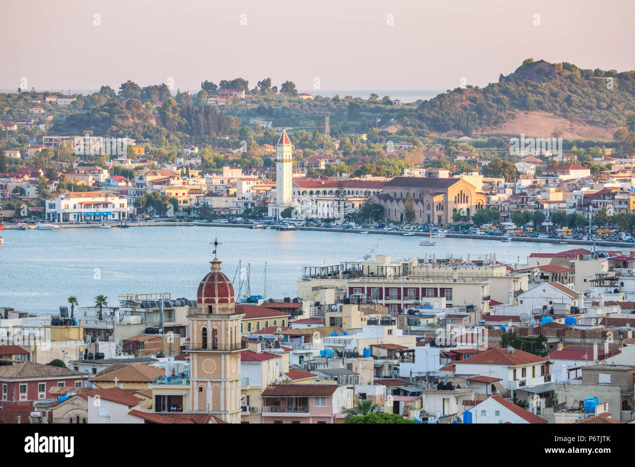 Zakynthos town and harbour at sunset, Zakynthos, Greece - Stock Image