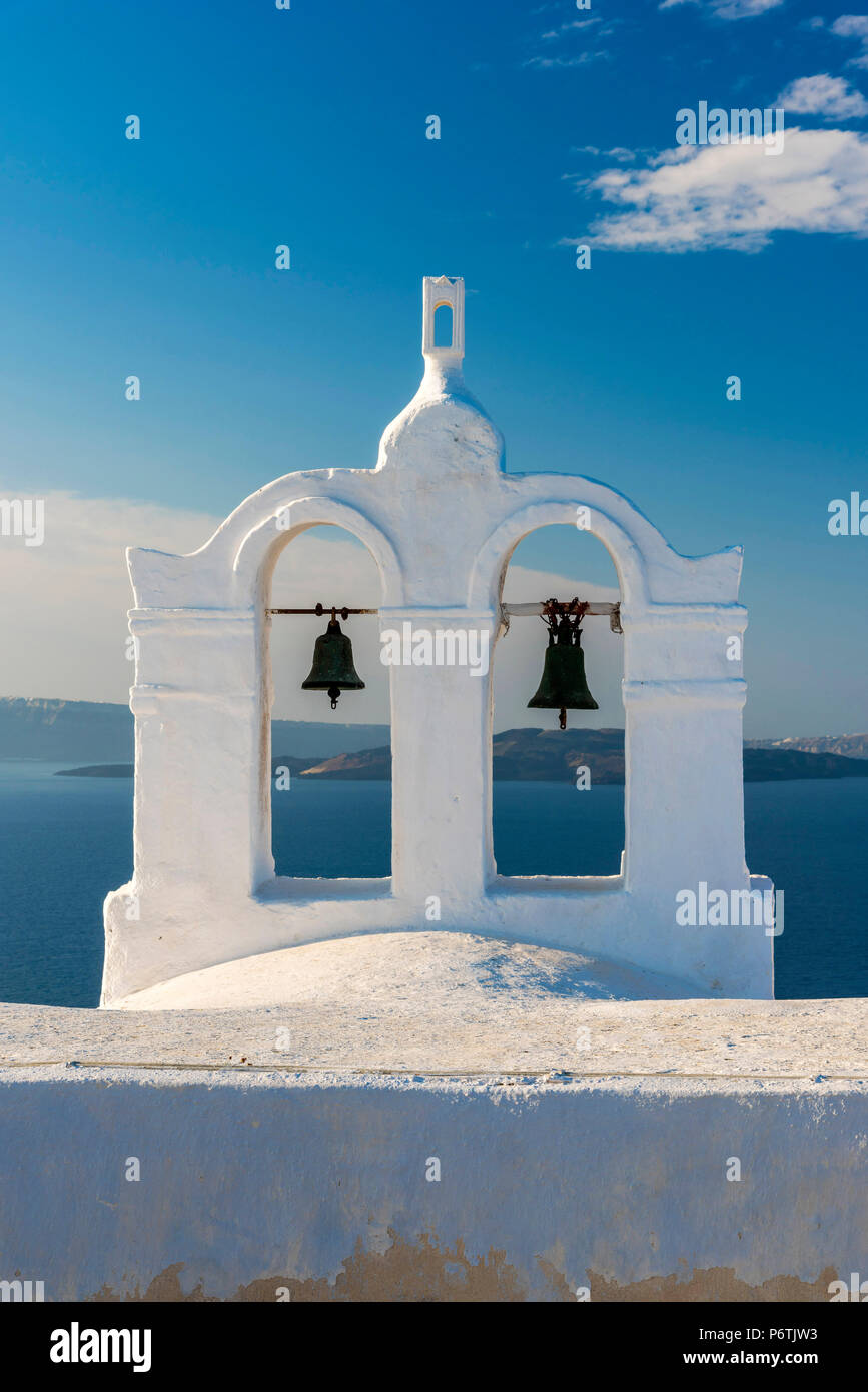 Traditional white belfry, Oia, Santorini, South Aegean, Greece - Stock Image