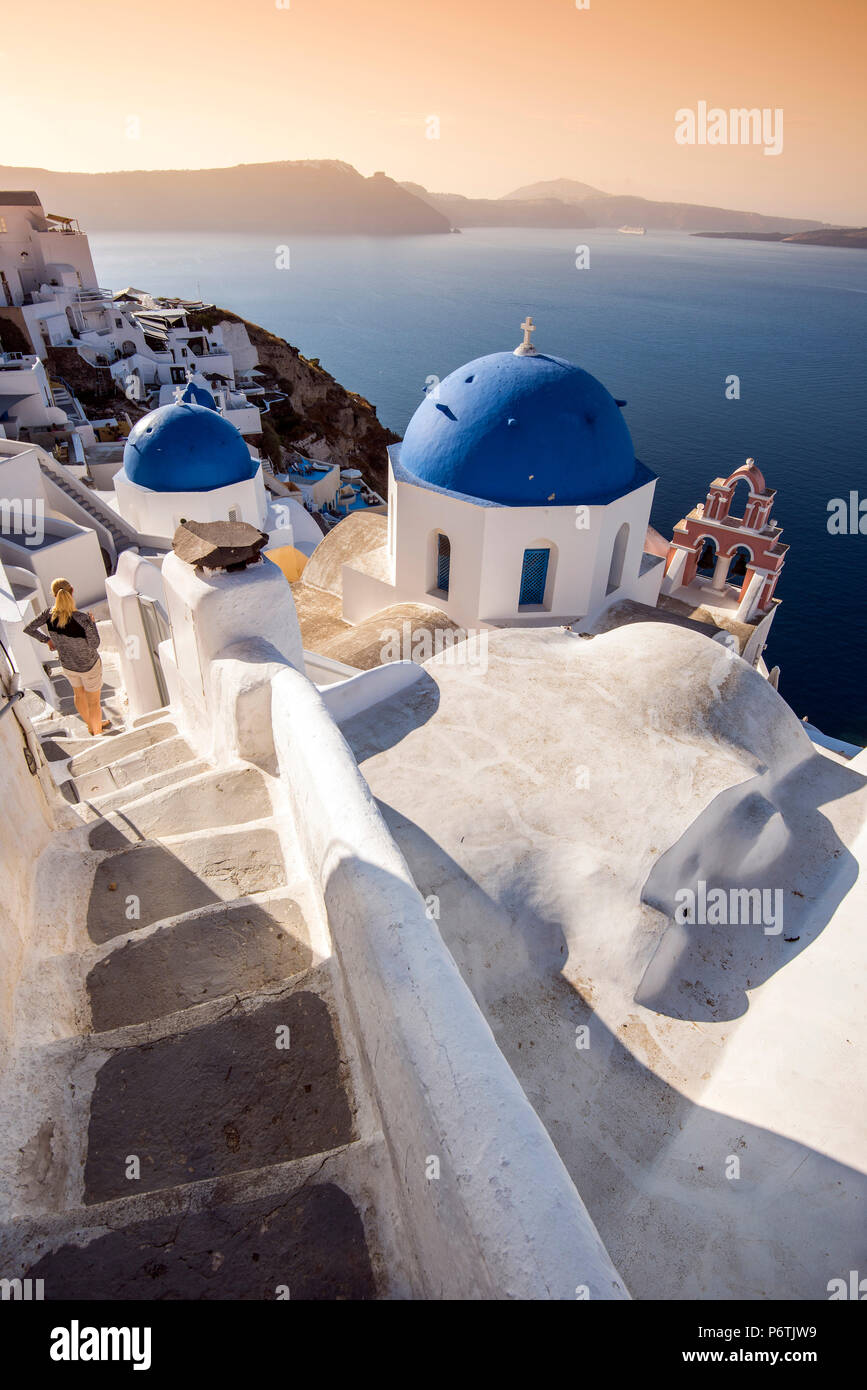 Picturesque sunrise view in Oia, Santorini, South Aegean, Greece - Stock Image