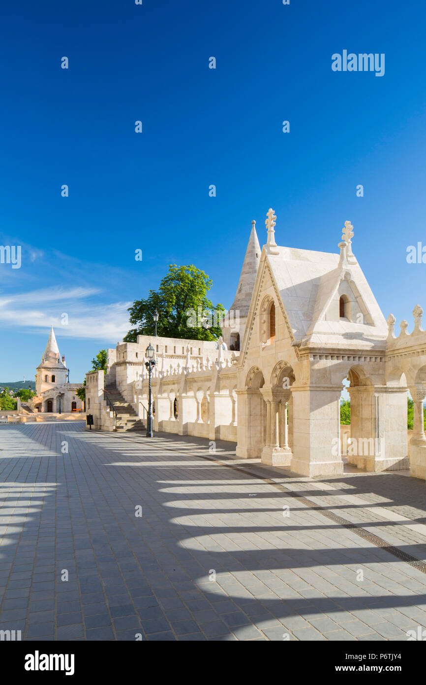 Hungary, Central Hungary, Budapest. Fisherman's Bastion takes it's name from the guild of fishermen responsible for defending this stretch of the city during the Middle Ages. Stock Photo
