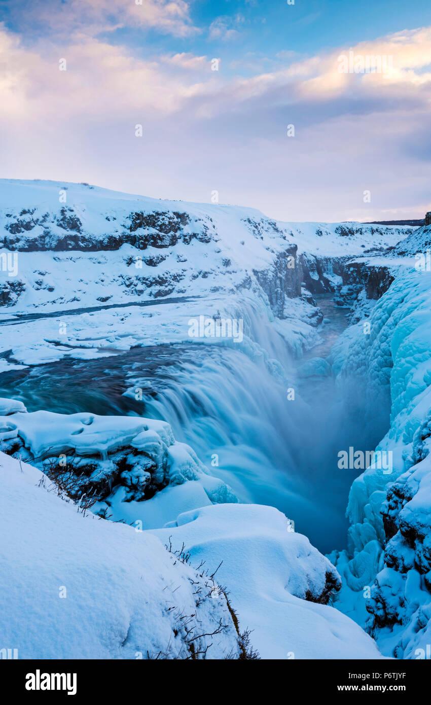 Iceland, Europe. Frozen Gullfoss waterfall in wintertime. - Stock Image