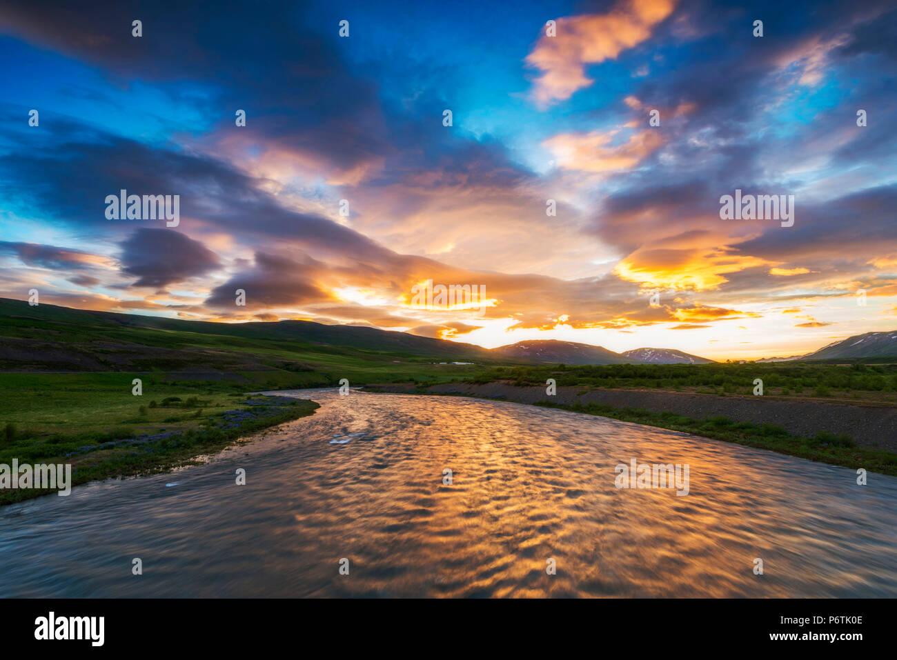 Northern Iceland. Midnight sun. - Stock Image